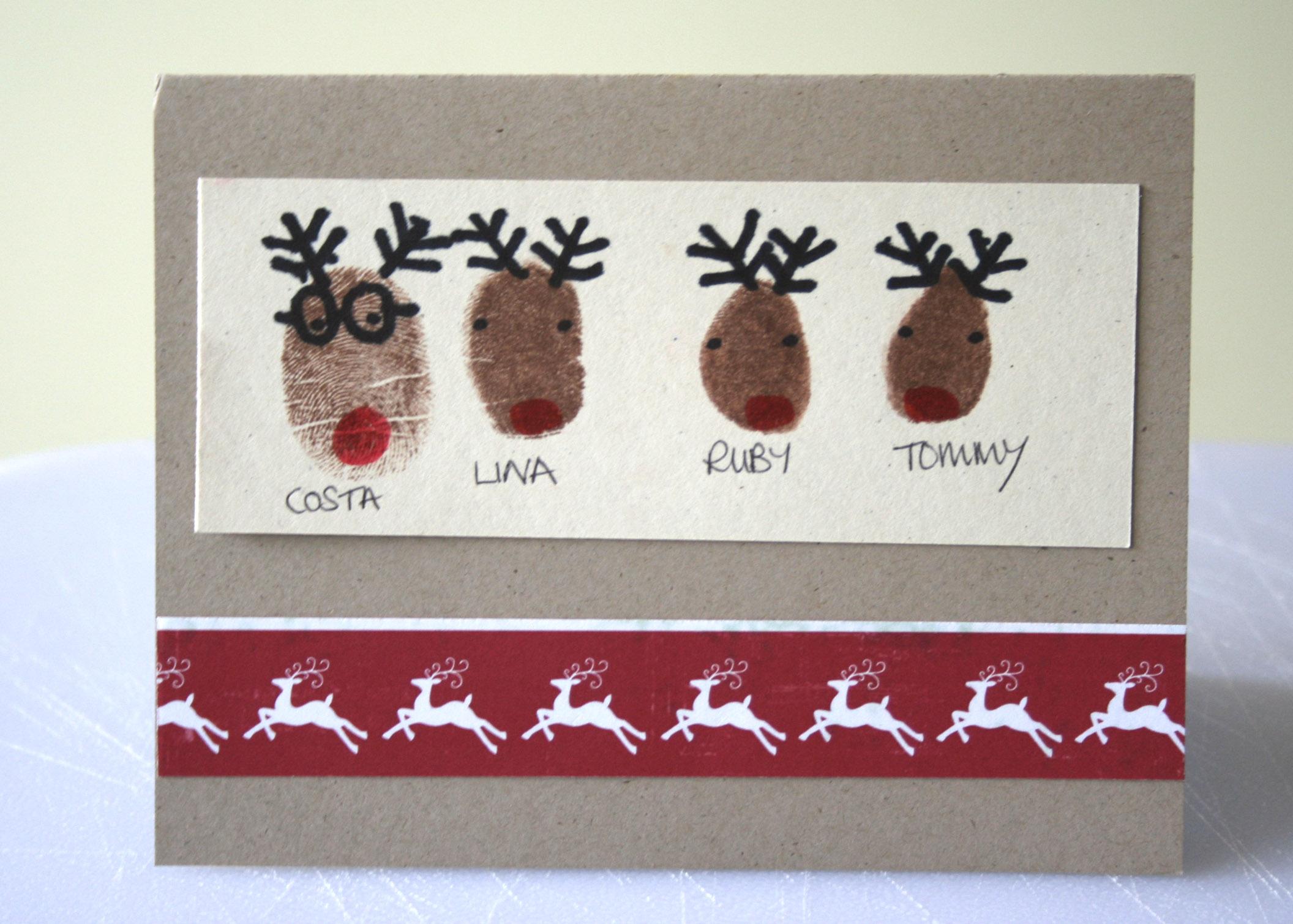 Reindeer Christmas Cards Hand Prints.This Year S Christmas Cards Linaloo